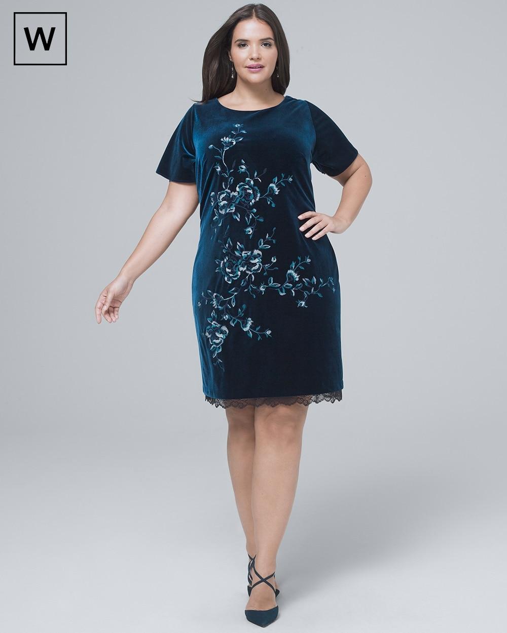 Plus Embroidered Velvet Shift Dress - White House Black Market bb2945506