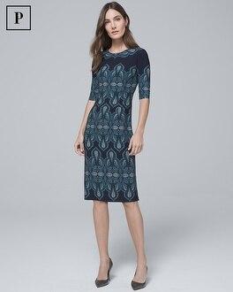 Petite Geo Print Knit Sheath Dress by Whbm
