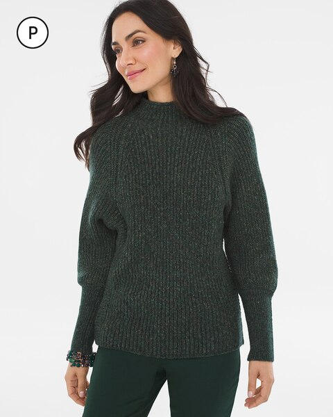 Petite Marled Mock-Neck Pullover Sweater