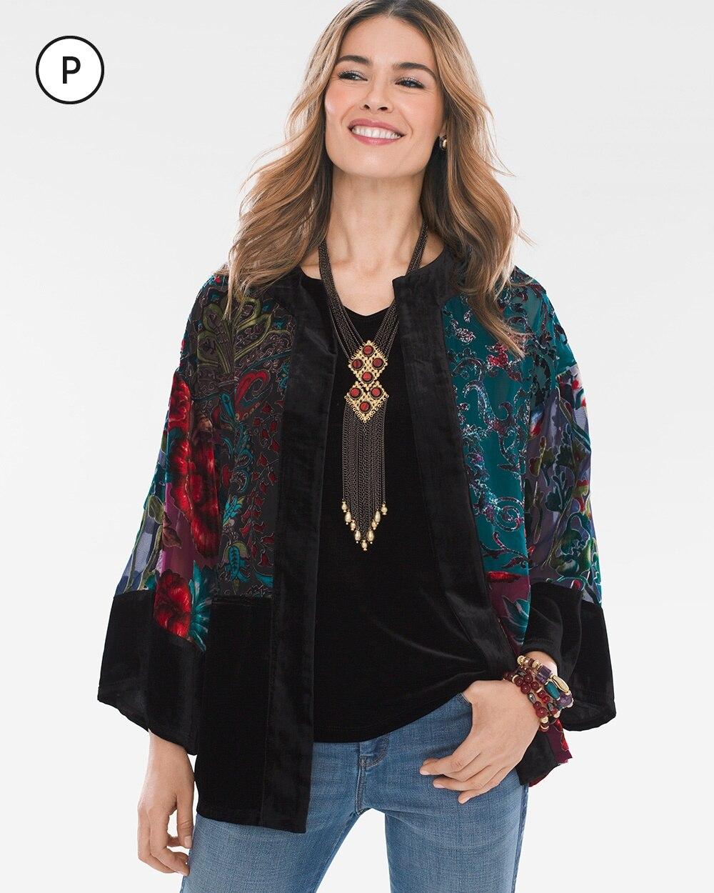 Travelers Collection Petite Multi-Colored Velvet Burnout Kimono