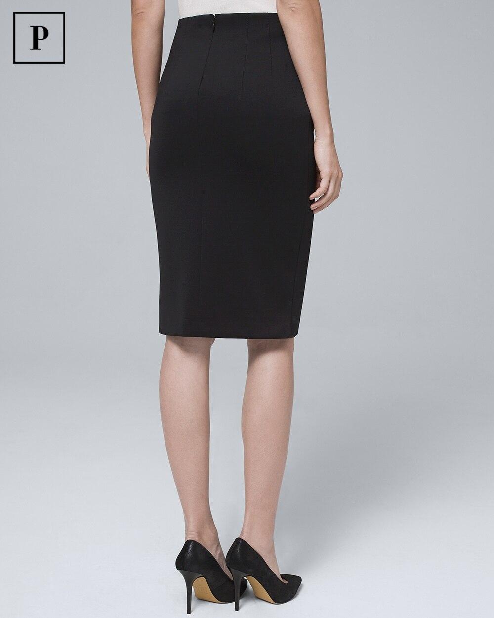 e5257884fe Return to thumbnail image selection Petite Embellished-Button Black Satin Scuba  Pencil Skirt