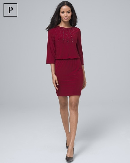 Petite Embellished Knit Blouson Dress