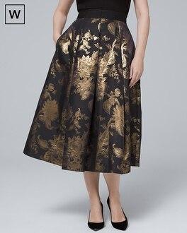 Plus Metallic Floral Full Midi Skirt by Whbm