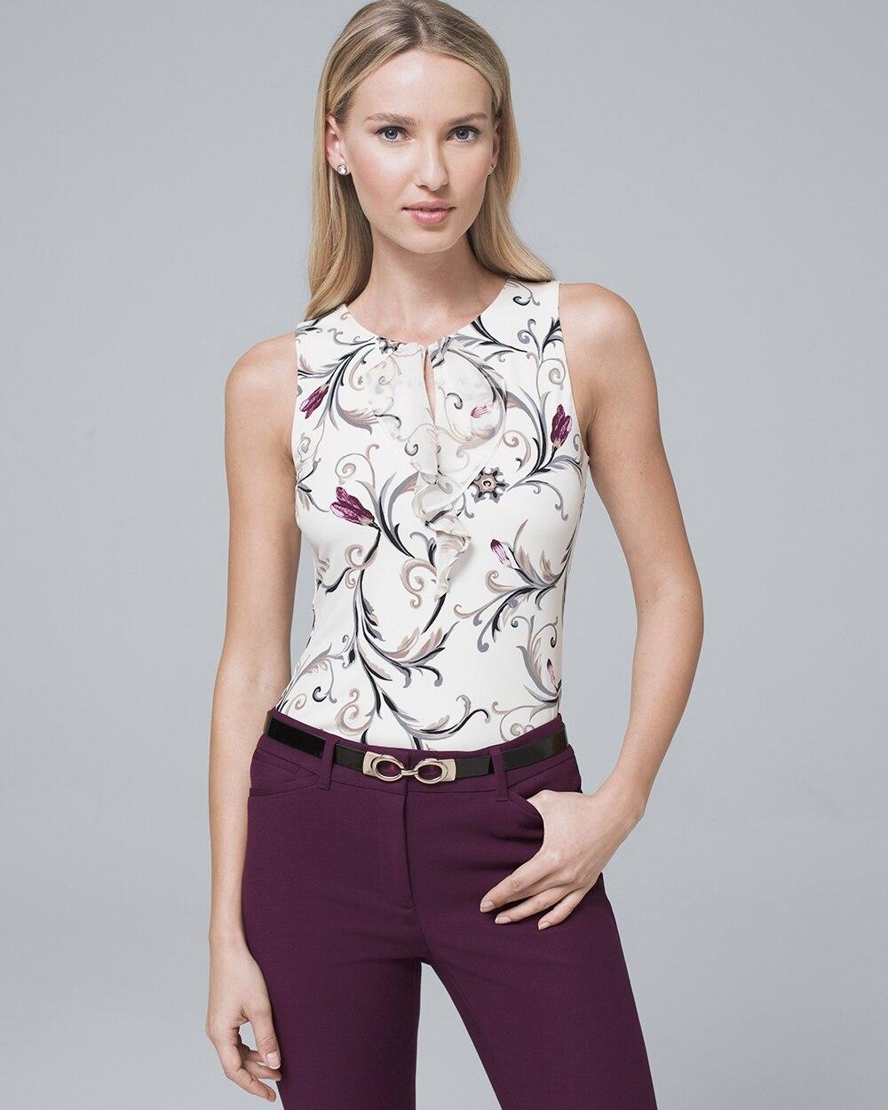 3ee4124095be1e Floral-Print Ruffle-Trim Shell - White House Black Market