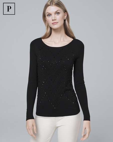 Petite Embellished-Front Sweater