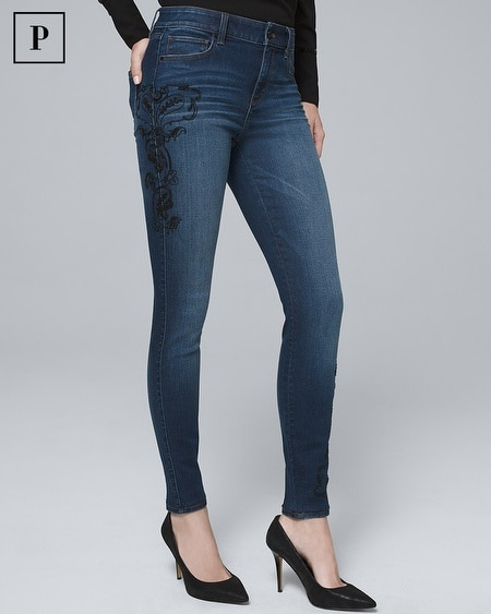 Petite High-Rise Embellished Skinny Jeans