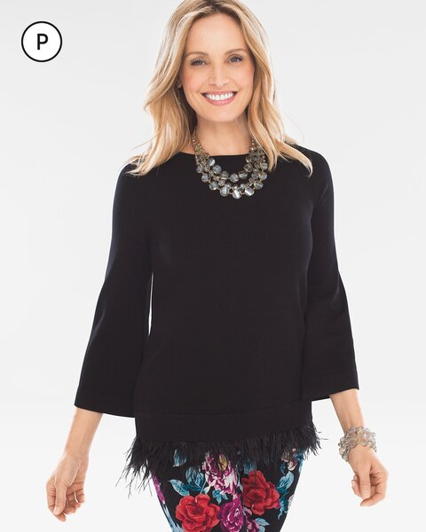 Petite Feather-Hem Pullover Sweater