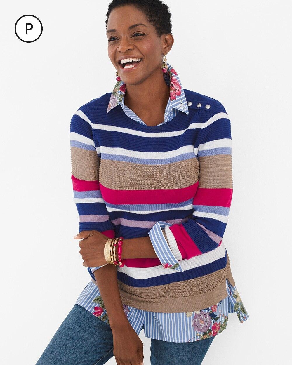 Petite Striped Button-Shoulder Pullover Sweater