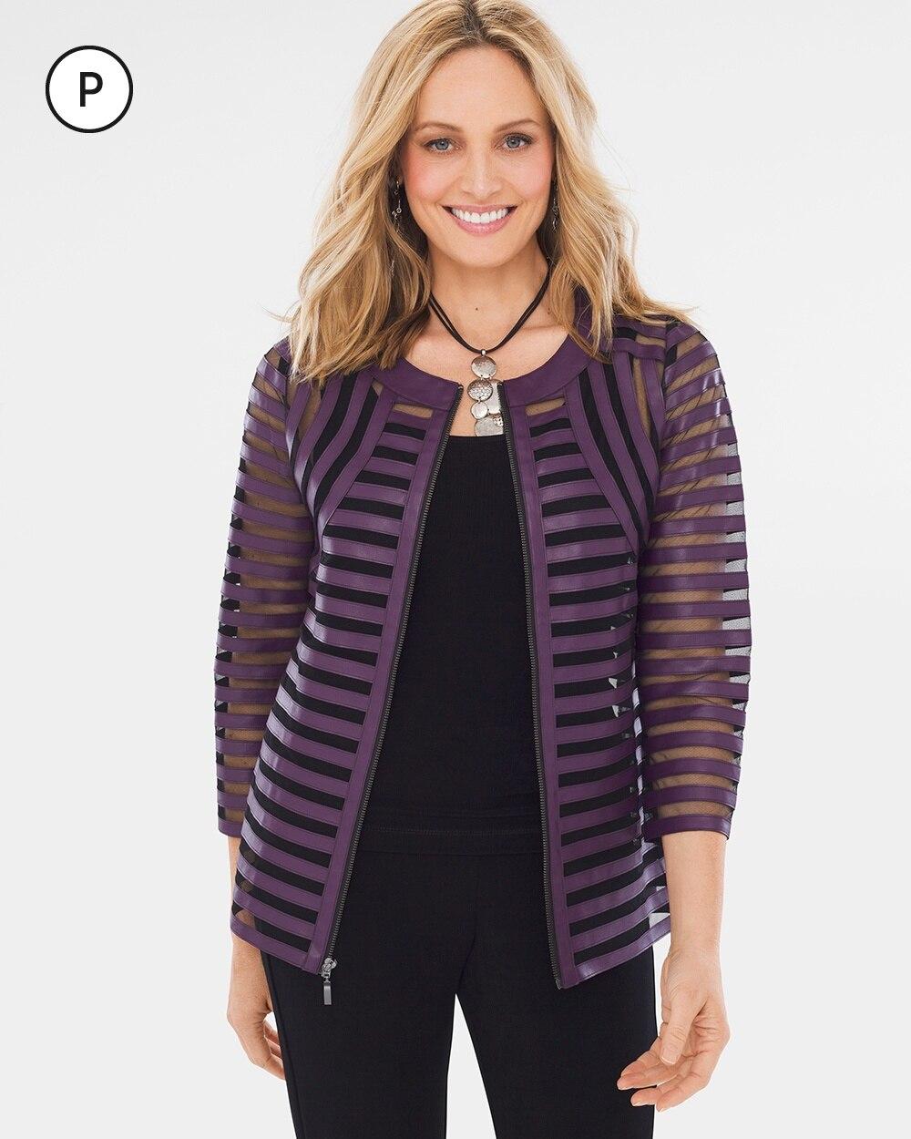 Travelers Collection Petite Purple Strip Jacket