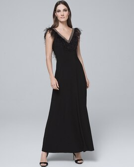 Adrianna Papell Feather Trim Black Gown