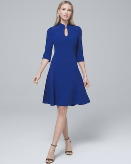 Keyhole Neckline Fit And Flare Dress by Whbm