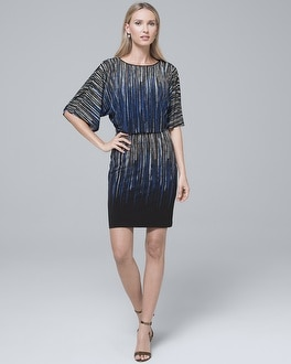 Embellished Abstract Print Knit Blouson Dress by Whbm