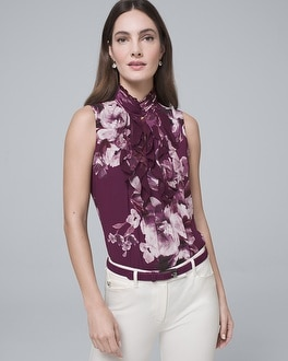 Floral Print High Neck Ruffle Shell by Whbm