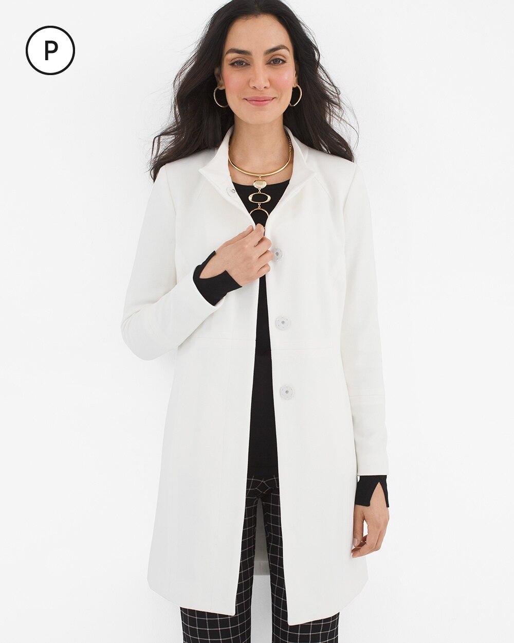Petite Long Jacquard Knit Jacket