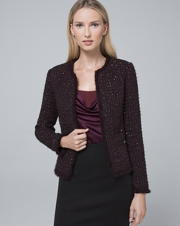 Sequin Tweed Sweater Jacket by Whbm