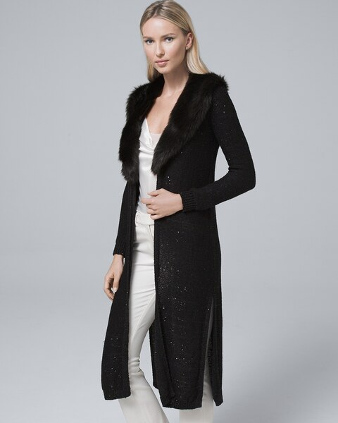 36d98194a65 Sequin-Detail Duster with Removable Faux Fur Collar - White House Black  Market