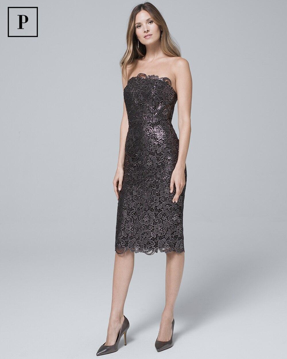 c905860c950 Petite Strapless Metallic Lace Sheath Dress - Shop Petite Dresses For Women  - Sheath