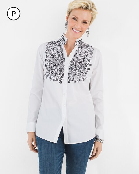 No-Iron Petite Cotton Contrast-Embroidery Shirt
