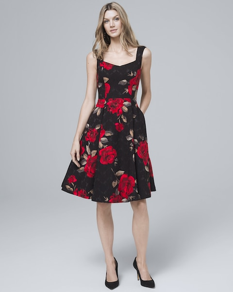 a70651ed1e2d Return to thumbnail image selection Floral-Print Fit-and-Flare Dress video  preview image, click to start