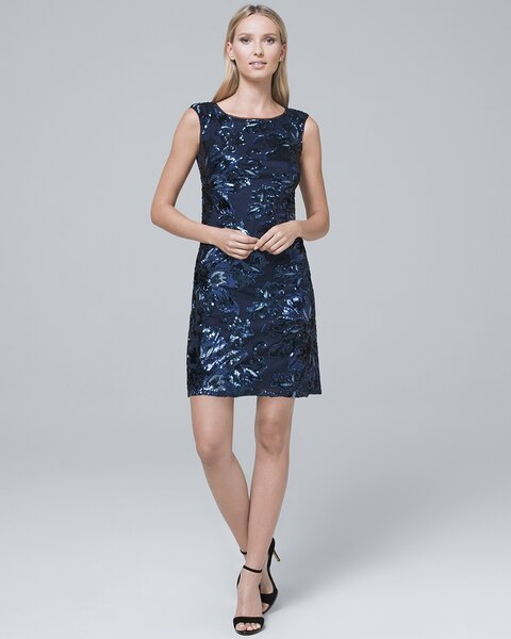 Sequin Detail Shift Dress White House Black Market