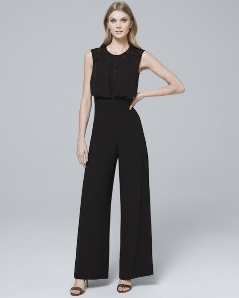 Lace Inset-Bodice Black Wide-Leg Jumpsuit