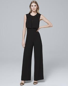 Lace Inset Bodice Black Wide Leg Jumpsuit by Whbm