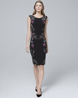 Reversible Floral Border/Solid Knit Sheath Dress by Whbm