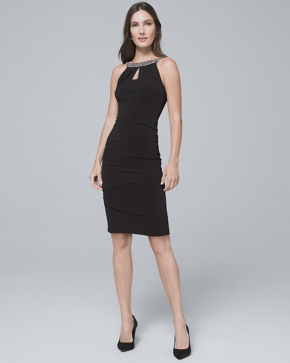 174fa5b6 Embellished-Neck Black Instantly Slimming Sheath Dress - White House Black  Market