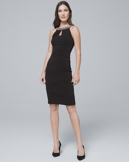 Embellished Neck Black Instantly Slimming Sheath Dress by Whbm