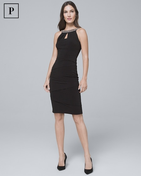 Petite Embellished-Neck Black Instantly Slimming Sheath Dress