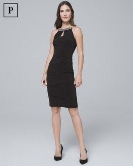 Petite Embellished-Neck Black Instantly Slimming Sheath Dress | Tuggl