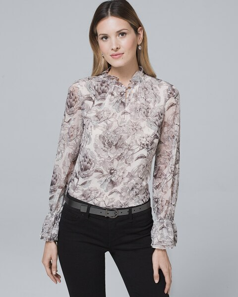 b4843e25919bf5 Ruffle-Trim Floral Blouse - White House Black Market