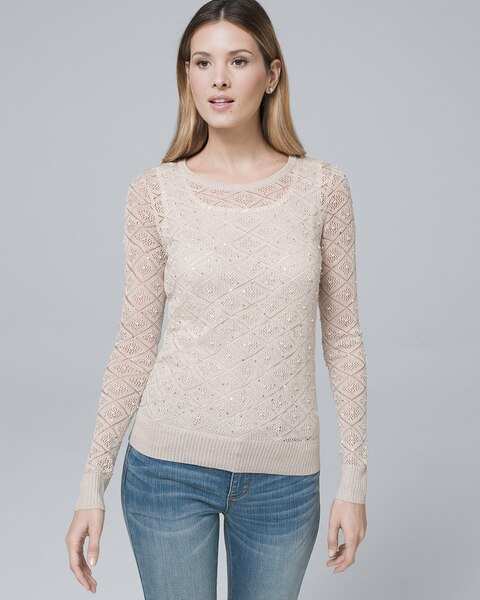 Faux Pearl Shimmer Sweater White House Black Market