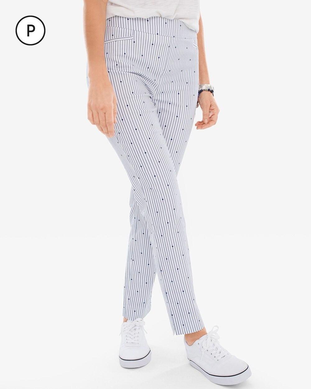 So Slimming Petite Brigitte Dot-Stripe Slim Ankle Pants