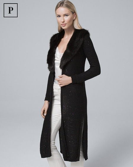 Petite Sequin-Detail Duster with Removable Faux Fur Collar