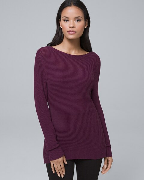 Dual-Neck Twist-Detail Sweater