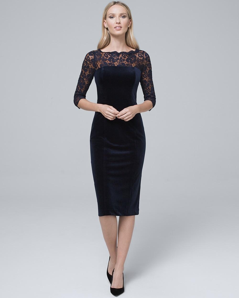 Illusion Neckline Velvet Sheath Dress White House Black Market