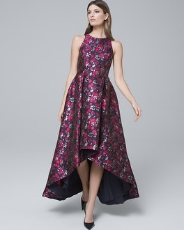 Metallic Floral Jacquard High Low Fit And Flare Dress by Whbm