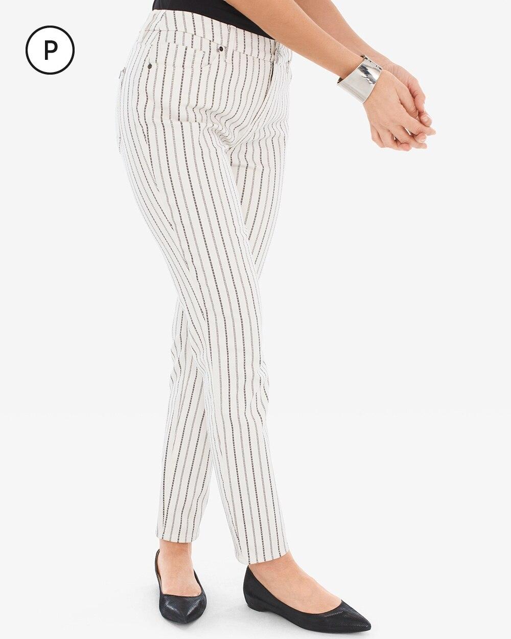 So Slimming Petite Textured-Stripe Girlfriend Ankle Jeans