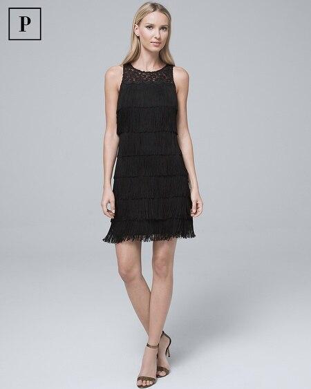 Petite Lace-Yoke Black Fringe Shift Dress