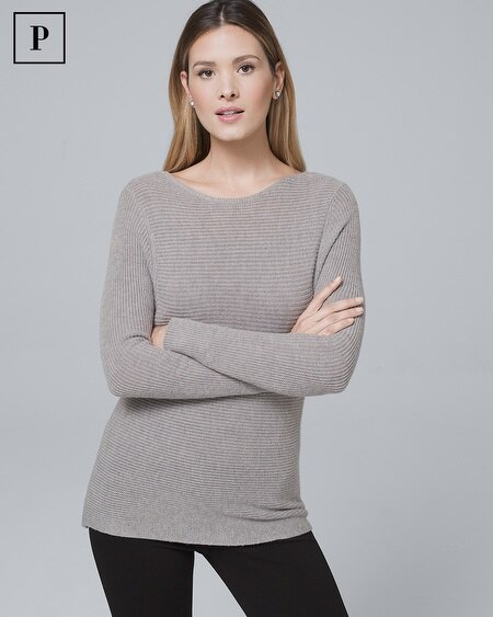 Petite Dual-Neck Twist-Detail Sweater