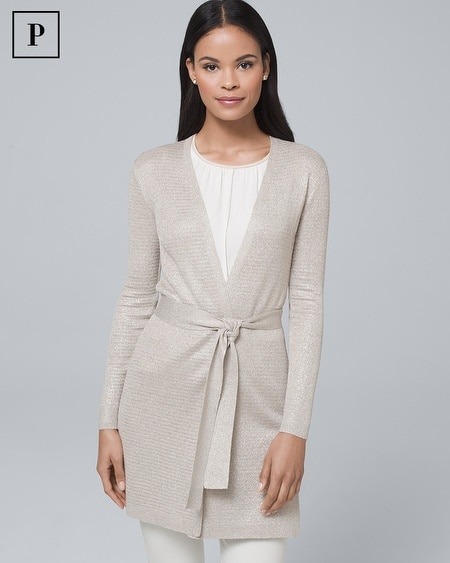Petite Metallic Belted Cover-Up