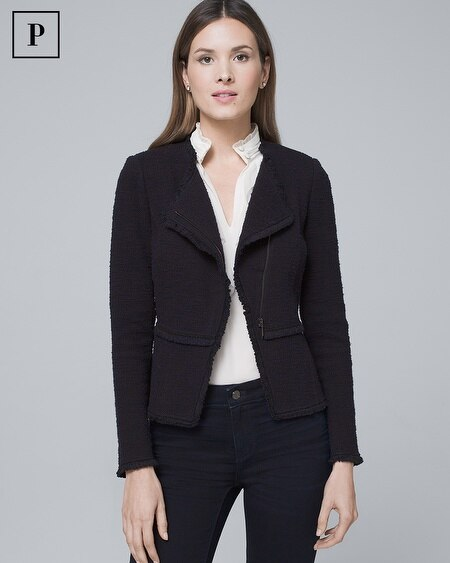 Petite Tweed Sweater Moto Jacket