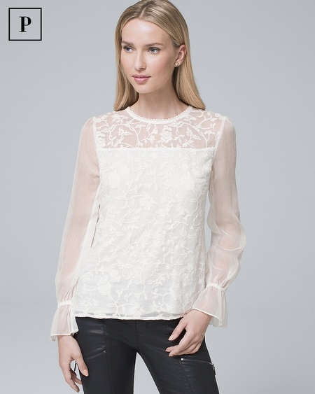 Petite Embroidered Lace Blouse