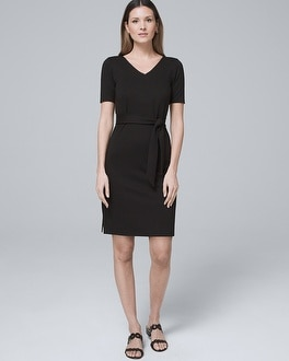 Sash Tie Polished Knit Black Shift Dress by Whbm