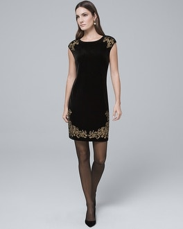 Embroidered Black Velvet Shift Dress by Whbm