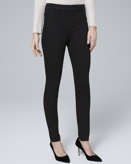 High Rise Button Fly Skinny Ankle Jeans by Whbm