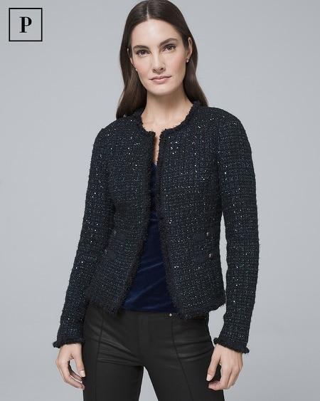 Petite Sequin Tweed Sweater Jacket