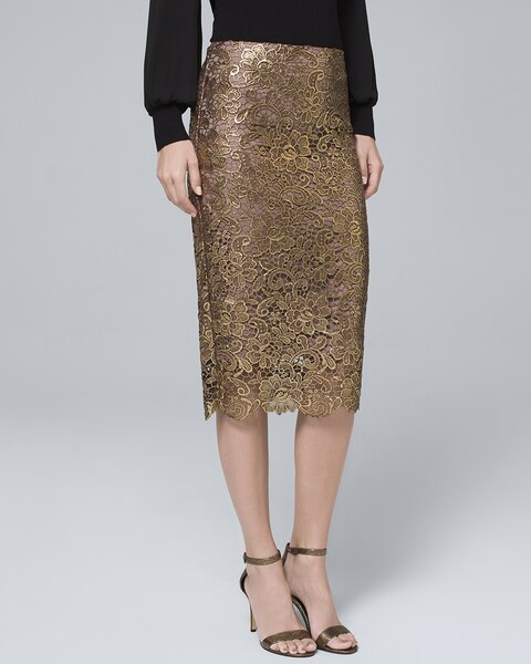 89a5ee7448 Metallic-Lace Pencil Skirt - White House Black Market