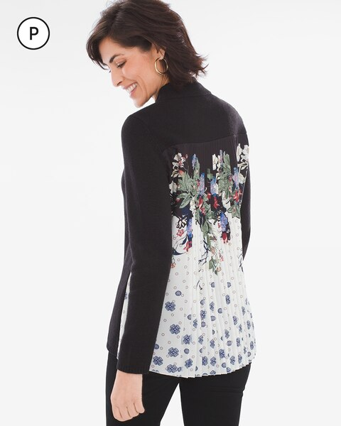 Petite Pleat-Back Floral Mock-Neck Pullover Sweater